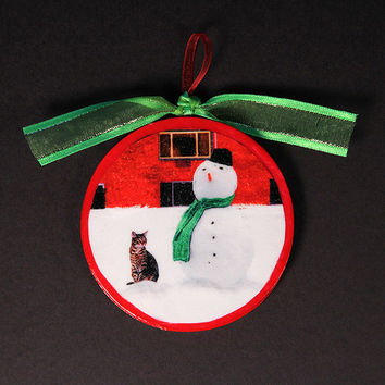Cat and Snowman Designer Artwork Hanging Ornaments