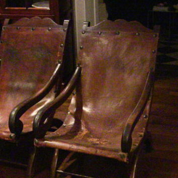 Beautiful Antique Spanish Leather Chairs