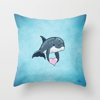 Love Ya! ~ Baby Dolphin ~ Blue Throw Pillow by Amber Marine Design | Society6