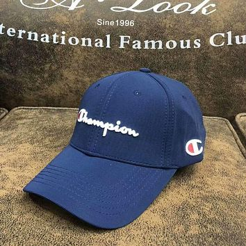 Champion Embroidery Cool Stylish Unisex Nike Baseball Cap Hat(5-Color) Blue I-Great Me Store