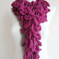 Crochet Pom pom Scarf,Mulberry Scarf,Gift for her,women scarf