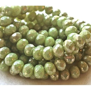 Lot of 25 Czech glass faceted puffy rondelle beads, opaque light honeydew Green with a silver mercury finish, donut beads, 5 x 7mm C00201