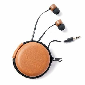 Vivitar Black Woodgrain Earbuds with Carrying Case