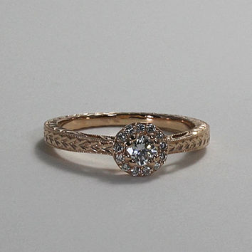 14K Gold Wheat Pattern Hand Engraved Diamond Engagement Ring