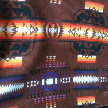 "Aztec Brown Printed Fleece 58"" Fabric by the yard - 1 yard"