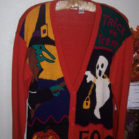 Vintage 80s Colorful Halloween Sweater 42 inch bust