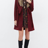 Lone Line Duster Coat with Artificial Fur Collar