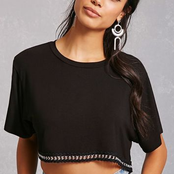Contrast Chain Crop Top