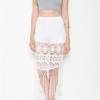 Fringed Crochet Skirt - White