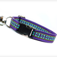 "Cat Collar - ""Wild Heart"" - Purple & Aqua Tribal Pattern"
