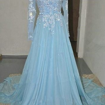 Real Pictures Prom Dresses 2017 Light Blue Long Sleeve Chiffon A Line Crystal See Though Back Evening Party Dresses Long 5121545
