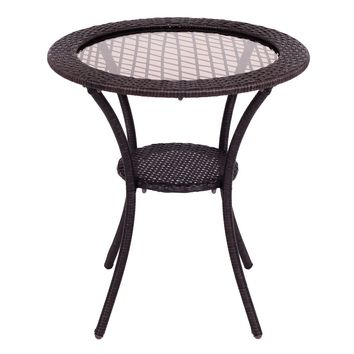 Round Rattan Wicker Coffee Table Glass Top Steel Frame Patio Furni W/Lower Shelf