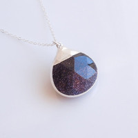 Goldstone Necklace in Silver - Sparkly Constellation Jewelry