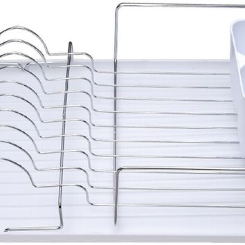 Deluxe Chrome Dish Drainer - White - CASE OF 6