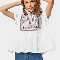 Curled Sleeve Embroidered Tassels Blouse