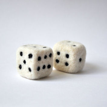 Needle Felted Dices (set of two) - Felt toy, Game, Playing, Soft sculpture