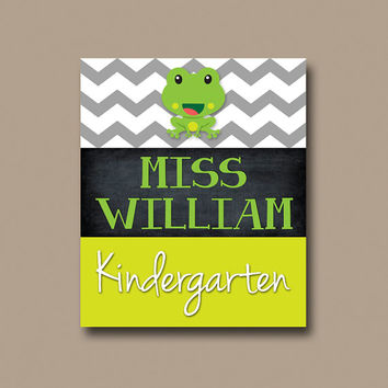 Frog Teacher Chalboard Name Sign Chevron Back to School Gift Personalized - Classroom Decor/Gift - Wall Art CANVAS or Prints