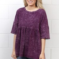 Mineral Washed Smocked Tunic {Purple Mix}