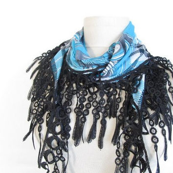 Peacock scarves - Christmas gift - Blue Scarf- woman accessories-asuhan -