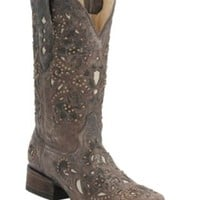 Corral Ladies Distressed Brown w/ Bone Inlay & Bronze Studs Square Toe Western Boots