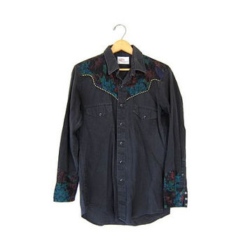 Black 80s floral western shirt with pearl snaps Cowgirl Button up Kenny Rogers 70s ranchwear shirt womens  Medium