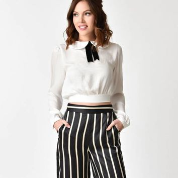 Banned White & Black Velvet Tie Collared Blouse