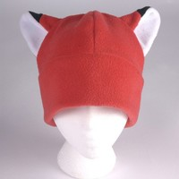 Fox Ear Hat - Red Fleece Hat by Ningen Headwear