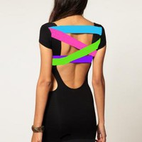 Quontum Circle Cutout Backless Dress with Neon Straps