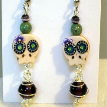Day of the Dead Earrings, Handmade Día de Muertos Earrings, Halloween, Mexican Sugar Skull Earrings, Posh Signatures lines, One Of A KInd