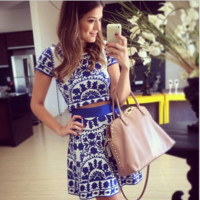 Two-piece dress fashion printing