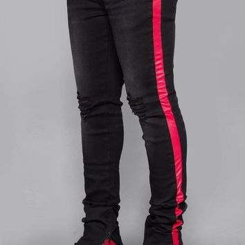 Striped Track Jeans (Black/Red)