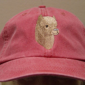 HUACAYA ALPACA Hat - One Embroidered Wildlife Cap - Price Embroidery Apparel - 24 Color Caps Available