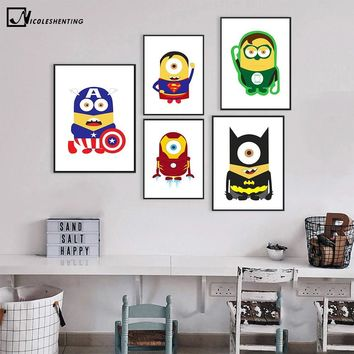 Batman Dark Knight gift Christmas Batman Superman Captain America Minimalist Art Canvas Poster Painting Cartoon Superheroes Wall Picture Children Room Decoration AT_71_6
