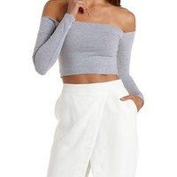 Long Sleeve Off-the-Shoulder Crop Top by Charlotte Russe