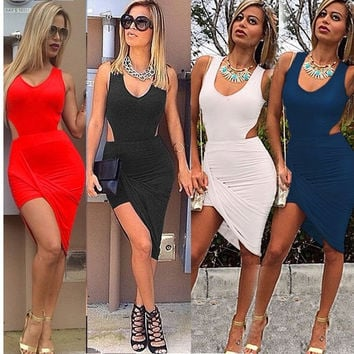 Womens Sexy Formal Evening Short Mini Prom Gown Side Slit Bodycon Short Dress = 1955591812