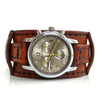 Brown Wrist Watch, Leather Men's watch, Leather Cuff, Bracelet Watch, Watch Cuff