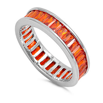 Sterling Silver CZ Simulated Citrine Emerald-Cut Eternity Ring 6MM