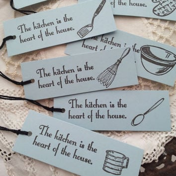 Kitchen Baking Cooking Tags Blue Set of 8