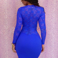 Lace Long Sleeve Midi Bodycon Dress