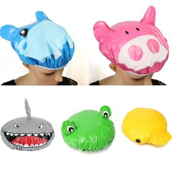 Fashion Cute Cartoon Animal Design Waterproof PVC Elastic Spa Shower Cap Hat Bath Hair Cover Protector Hats Bathroom Product