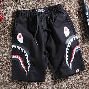 BAPE AAPE Trending Men Women Casual Shark Mouth Print Shorts Black