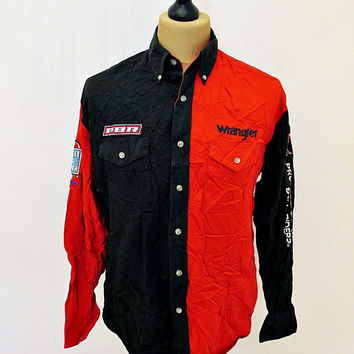 Vintage 80s Wranger Red Black Professional Bull Rider Cowboy Shirt Medium