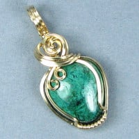 Chrysocolla 14k Gold Filled Pendant Wire Wrap Wire Art Pendant