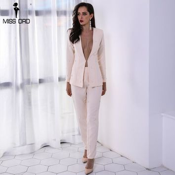 Sexy Long Sleeve Button Two Pcs Sets Beads Solid Color Elegant Jumpsuit