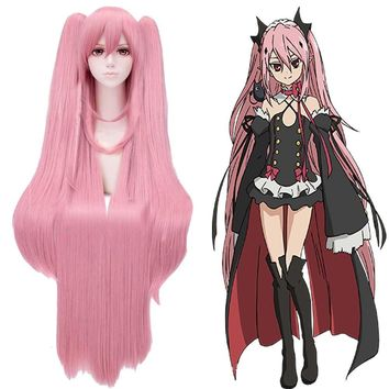 2017 Hot Japanese Anime Seraph of the End Krul Tepes Cosplay Wig Halloween Play Pink Wig Party Stage 100cm Long Hair Hairnet