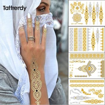 Tattrendy 4pcs new Indian Arabic design golden silver flash tribal henna tattoo paste metalicos color metal tattoo set body hand
