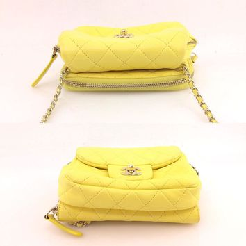 AUTH CHANEL Vintage Yellow Mini Matelasse Quilted Shoulder Chain Bag Lambskin