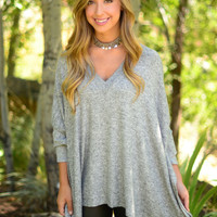 Play It Cool Tunic- Heather Grey