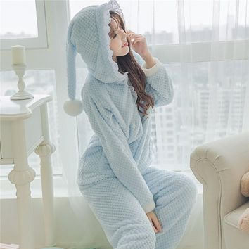 Fashion Women Pajama Set Cute Witch Pajamas with Hat Warm Flannel Coral Fleece Cute Sleepwear Women's Sleep Lounge Pajama 237
