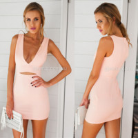 Deep v-neck low-cut package hip sleeveless dress pure color cultivate one's morality